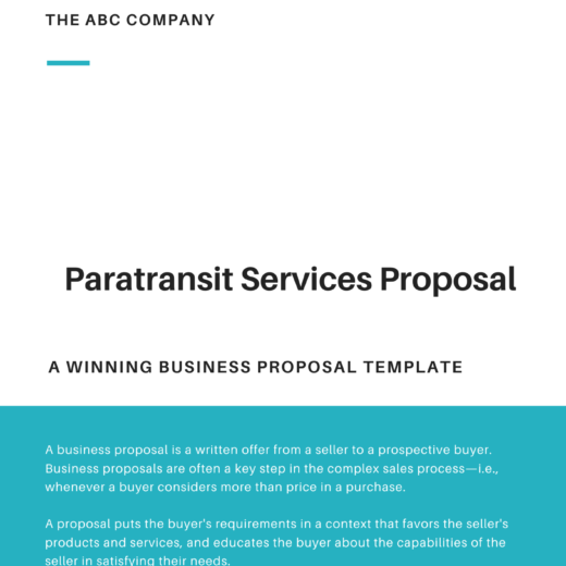 Paratransit Services Proposal Template
