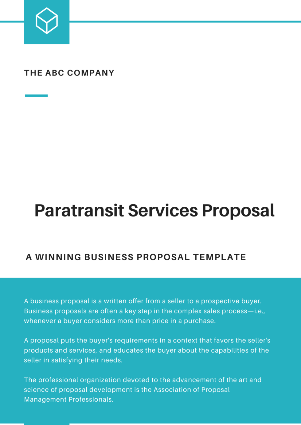 Paratransit Services Proposal Template